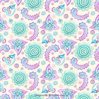 水彩花の装飾パターン