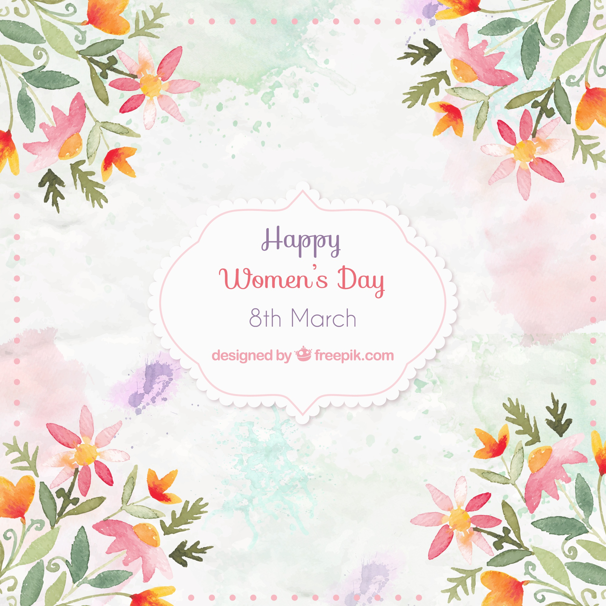 Watercolor floral decoration women's day