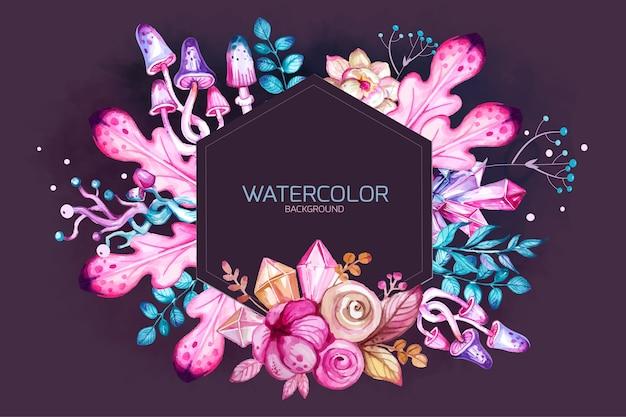 魔法の結晶と花の水彩花飾りカード