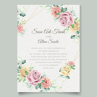Watercolor floral element wedding card set