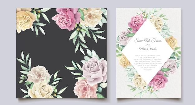 Insieme della carta di nozze elemento floreale dell'acquerello