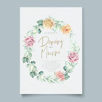 水彩花柄ウェディングカードセット