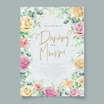 수채화 꽃 요소 웨딩 카드 세트