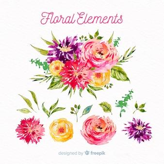 수채화 꽃 요소