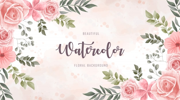 Watercolor floral flower background