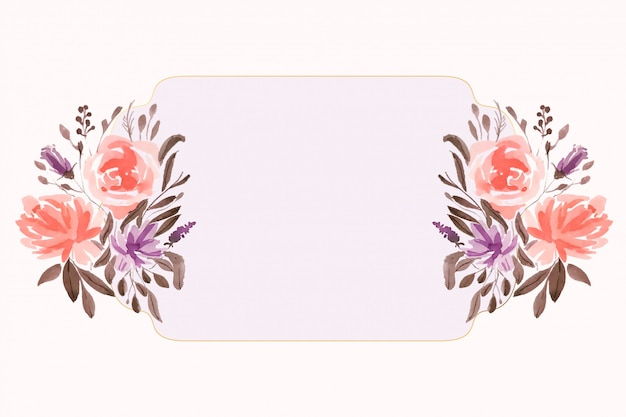 텍스트 공간 수채화 꽃 꽃 장식 배경