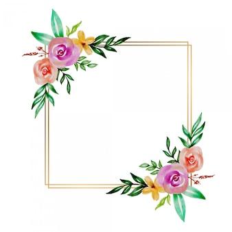 Watercolor floral flower frame design
