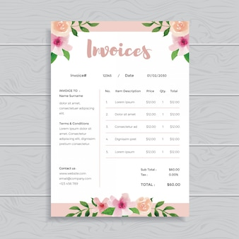 Watercolor floral flower invoices template design