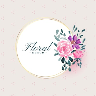 Watercolor floral flower on white frame background