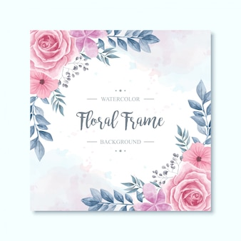 Watercolor floral flowers frame background