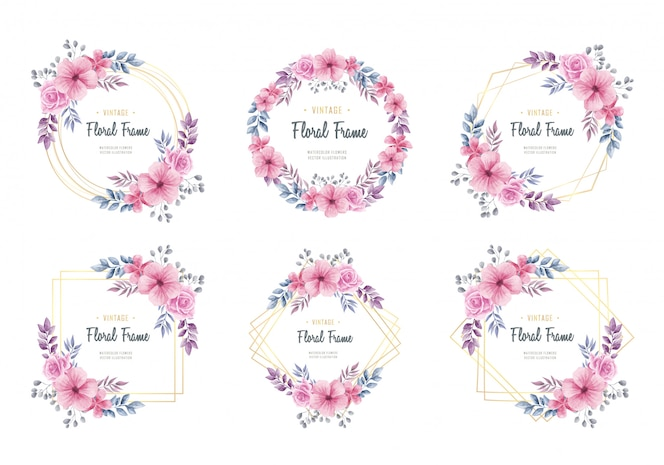 Watercolor floral flowers golden frame collection