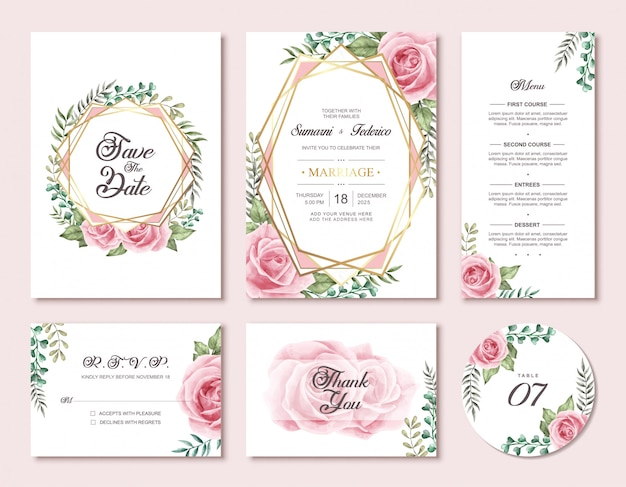 Watercolor floral flowers wedding invitation card set