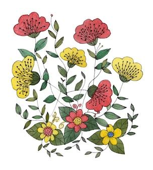 수채화 꽃 꽃