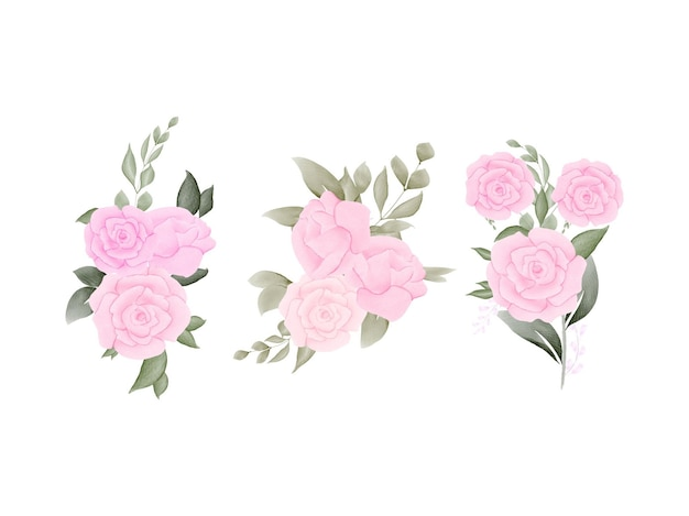 Акварель цветочные для свадебного набора карт