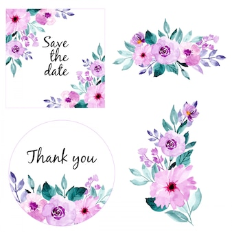 水彩花のフレームと花束のコレクション。日付を保存し、ありがとうカード