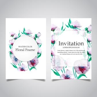 水彩花のフレームと招待状のカードコレクション
