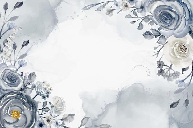 水彩花フレーム背景ネイビーブルーと白のイラスト
