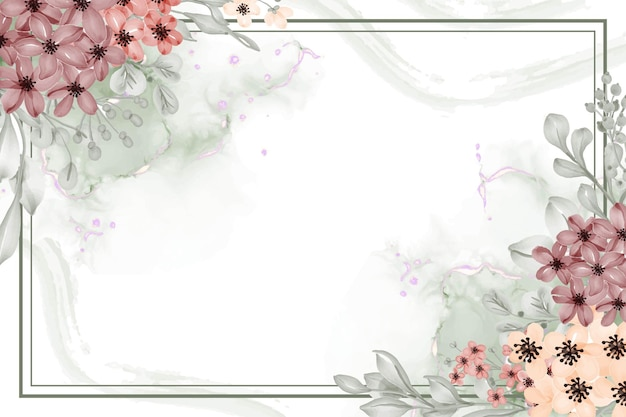 白いスペースと小さな花の水彩花フレーム背景