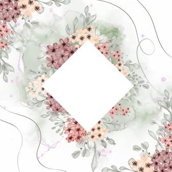 Акварель цветочная рамка фон цветок маленький с белым пространством