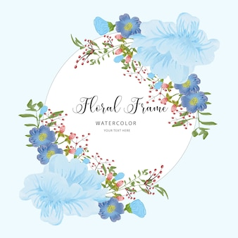 Watercolor floral frame background with blue flower