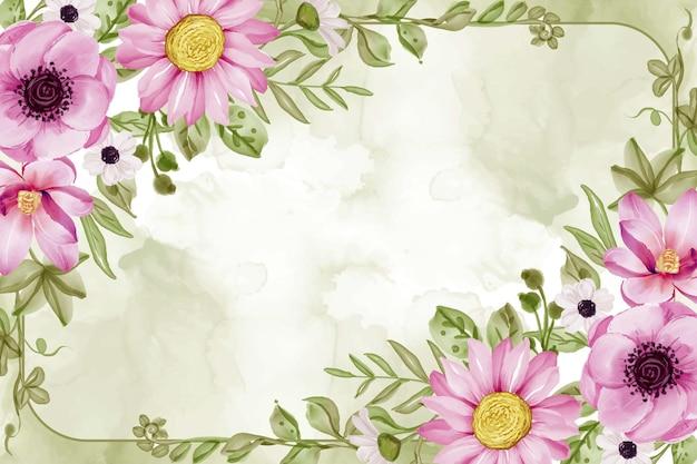 ピンクの花と緑の葉の水彩画と水彩花フレームの背景