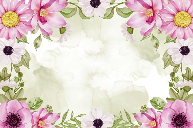 Watercolor floral frame background with pink flowers and greenery leaf watercolor