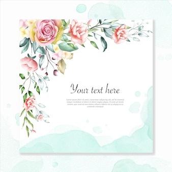 Watercolor floral frame background