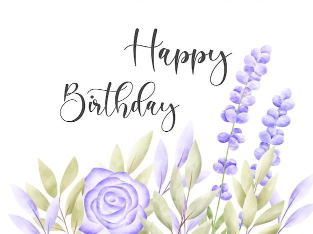 Акварель цветочная рамка. открытка на день рождения.