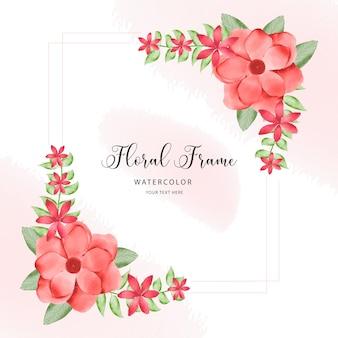 桃とバーガンディのバラと葉の水彩花フレーム花束