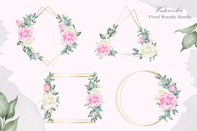 結婚式の招待状の水彩花フレームバンドル