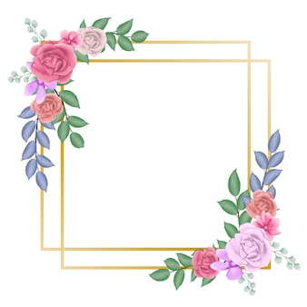 사각형 프레임으로 수채화 꽃 프레임