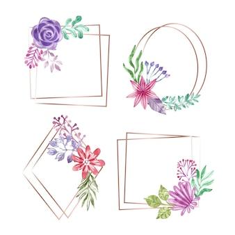 Collezione di cornice floreale dell'acquerello