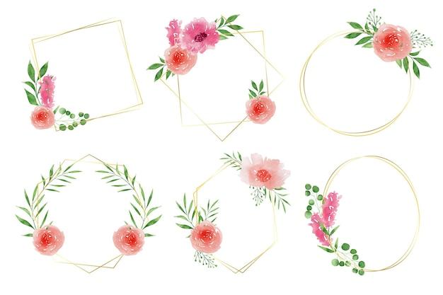 Коллекция акварельных цветочных рамок