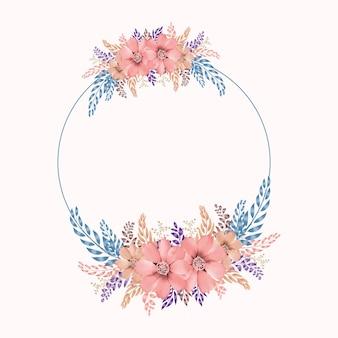 Акварель цветочная рамка в формате премиум вектор