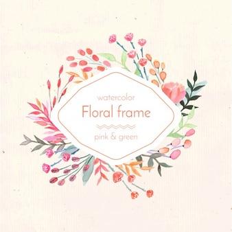 Watercolor floral frame design