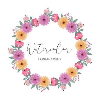 아름다운 색상으로 수채화 꽃 프레임 꽃