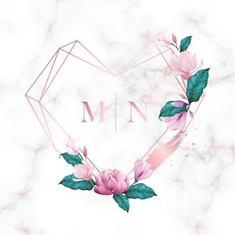 웨딩 모노그램 로고 수채화 꽃 프레임