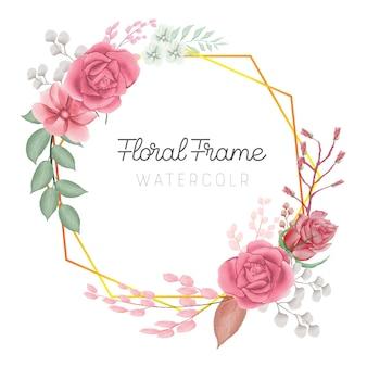 결혼식을 위한 수채화 꽃 프레임