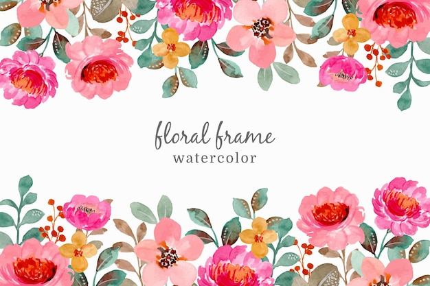 Watercolor floral frame. hand drawn pink floral background