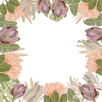 自由奔放に生きるスタイルの水彩画の花のフレーム