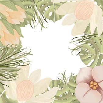 Boho 스타일의 수채화 꽃 프레임
