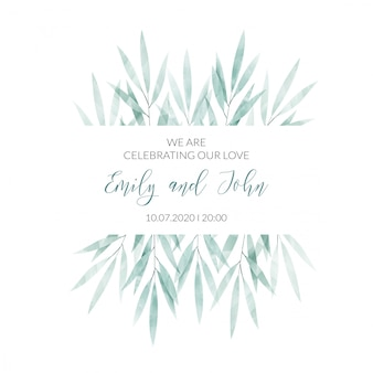 Watercolor floral frame invitation card