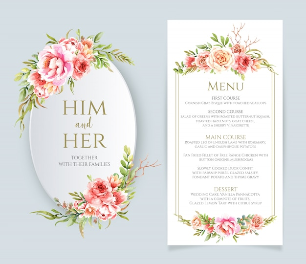 Watercolor floral frame and menu for wedding