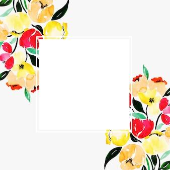 水彩花のフレーム多目的背景