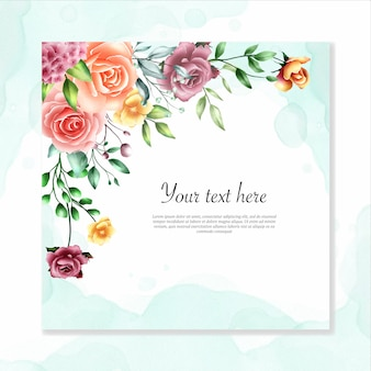 Watercolor floral frame multi purpose background
