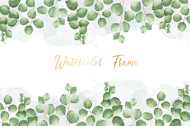 Watercolor floral frame multi purpose template card