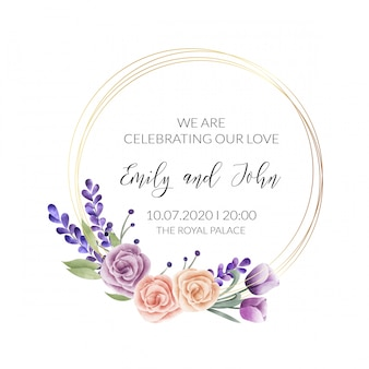 Watercolor floral frame. multipurpose background.