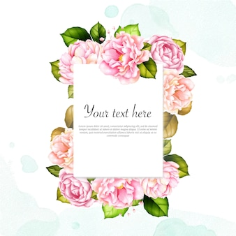Watercolor floral frame for multipurpose card with text template
