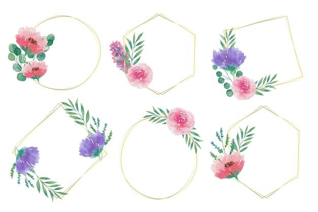 수채화 꽃 프레임 팩