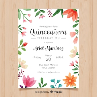 Watercolor floral frame quinceanera card template